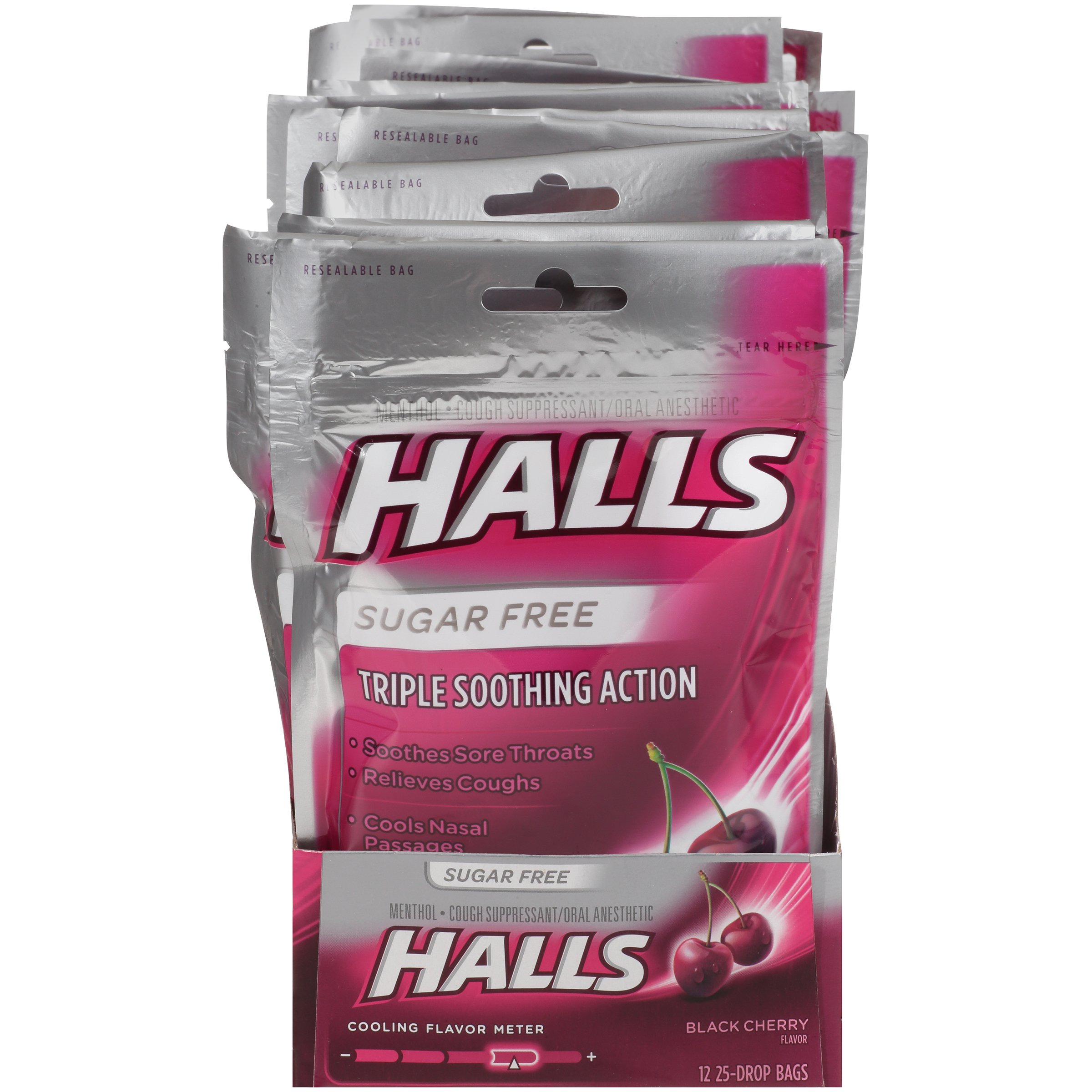 Halls Black Cherry Sugar Free Cough Drops - with Menthol - 300 Drops (12 bags of 25 drops)