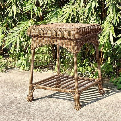 Amazon Com Jeco Wicker Patio End Table In Honey Garden Outdoor