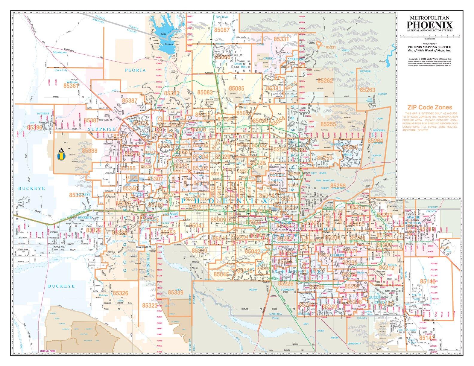 world of maps phoenix Metropolitan Phoenix Zip Code Arterial And Collector Streets Paper world of maps phoenix