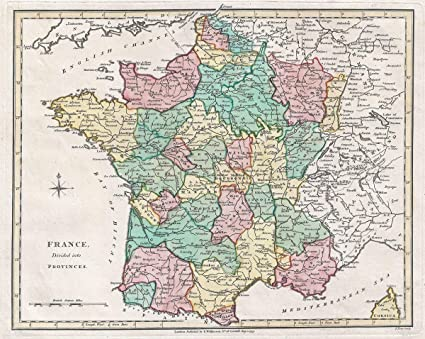 Map Of Provinces In France.Amazon Com Historic Map Wilkinson Map Of France In