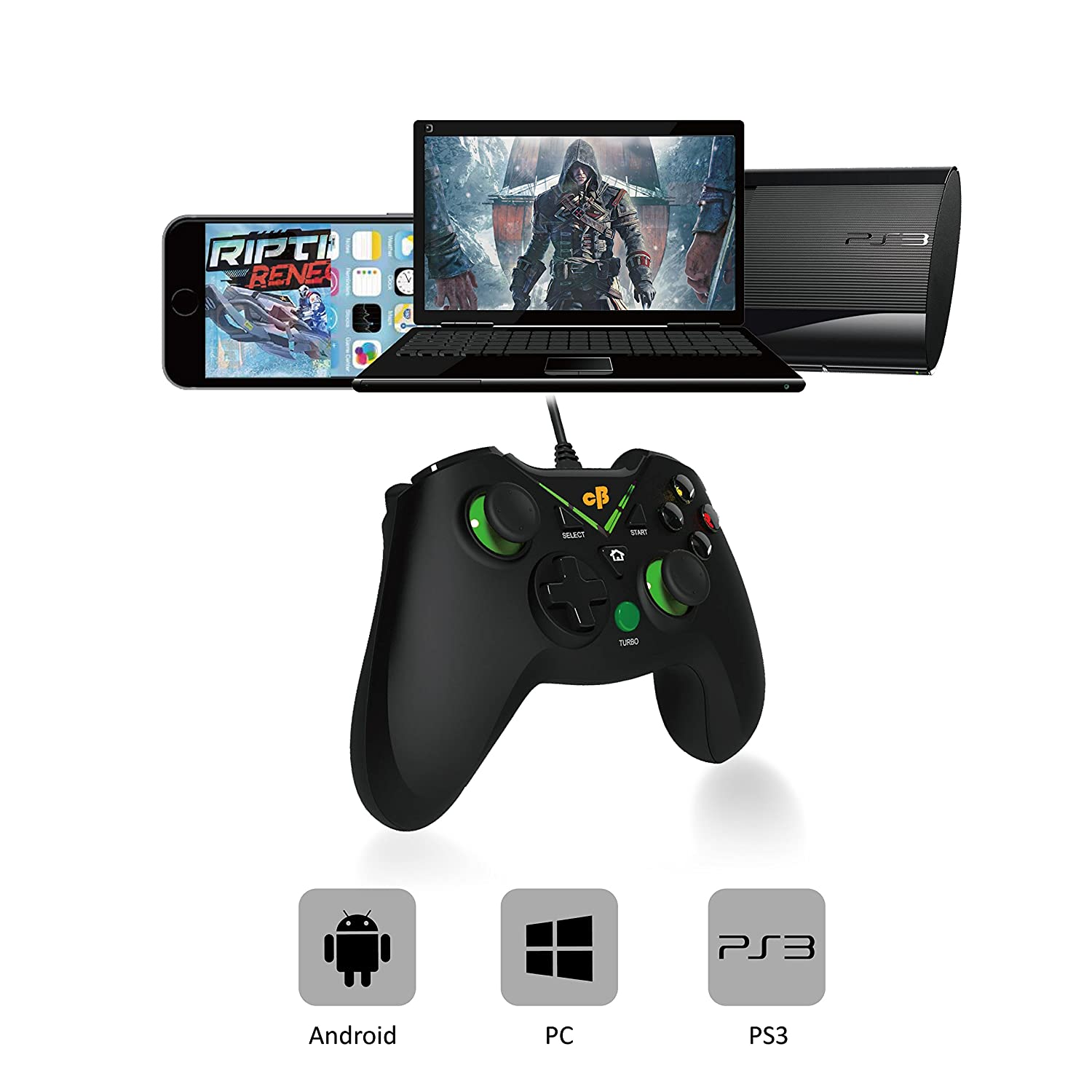 3595ed423d5 Cosmic Byte C1070T Interstellar Wired Gamepad for PC/PS3/Android support  for Windows XP/7/8/10, Rubberized Texture, Drivers: Amazon.in: Video Games