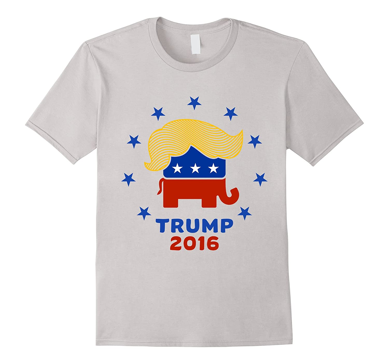 Donald trumps hair on iconographic elephant t shirt design for Hair salon t shirt designs