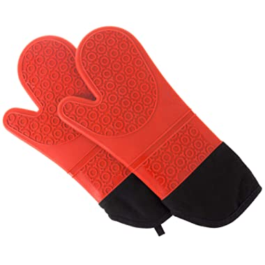 Lavish Home Silicone Oven Mitts – Extra Long Professional Quality Heat Resistant with Quilted Lining and 2-sided Textured Grip – 1 pair Red