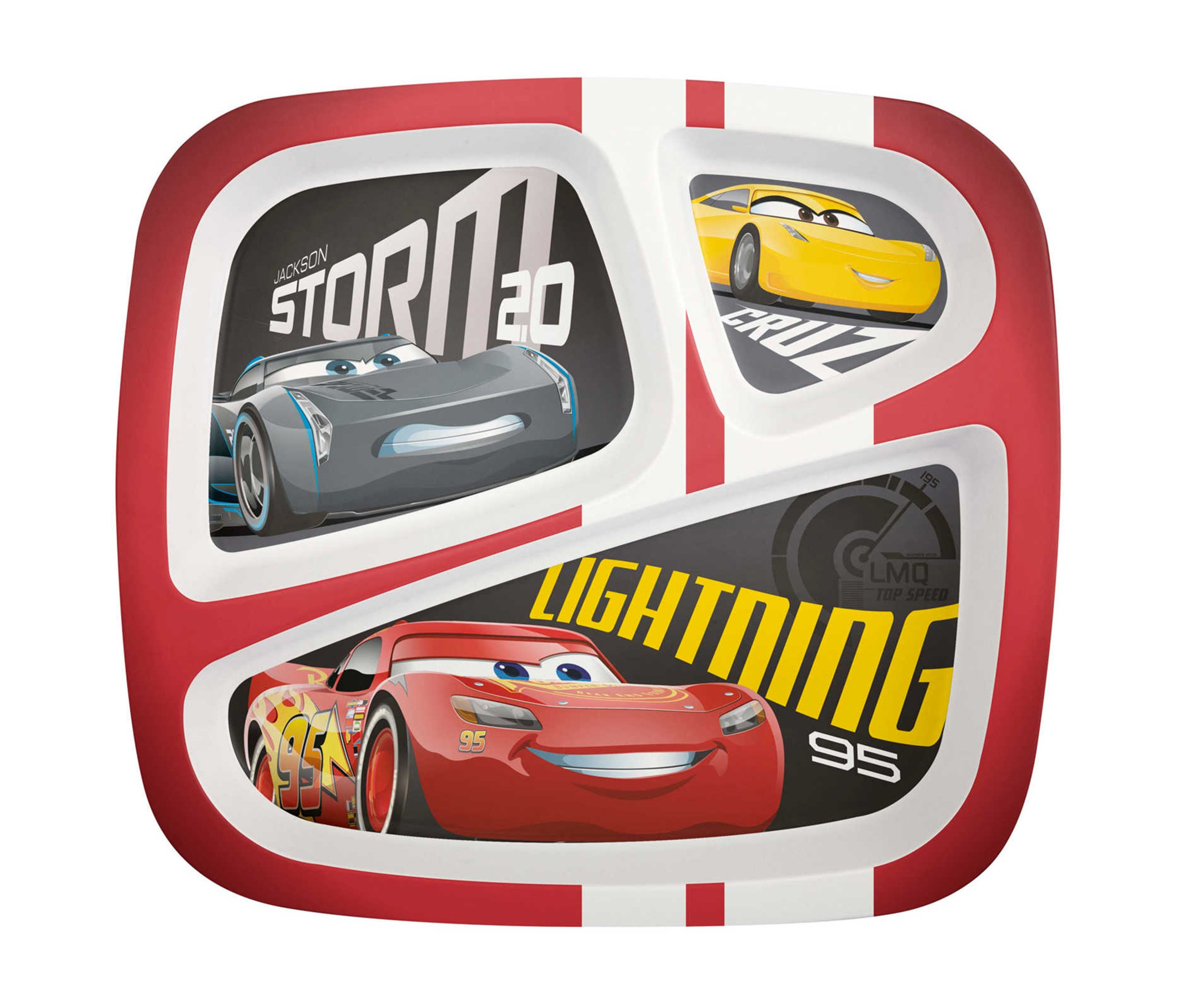 Mozlly Multipack - Zak Designs Disney Cars 3 Red 3 Section Plate for Kids - BPA Free, Stain Resistant - Novelty Character Dinnerware (Pack of 12) - Item #S139011_X12