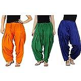 K's Creations Combo of 3 Womens Solid Cotton Mix Best Indian Ethnic Comfortable Readymade Punjabi Semi Patiala Salwar