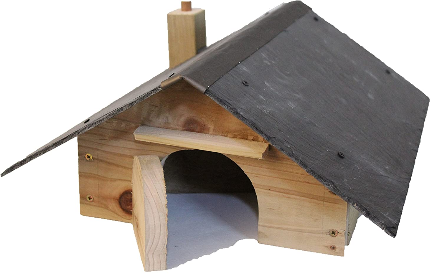 Blackdown Wood Crafts Hedgehog House with natural slate roof and nesting compartment