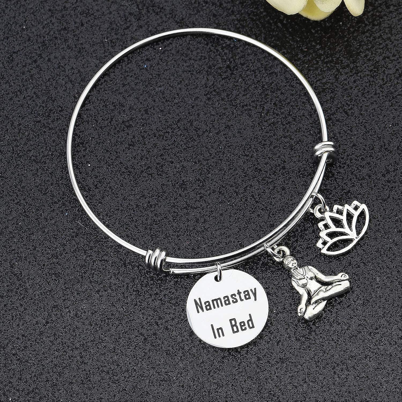 bobauna Namastay in Bed Lotus Charms Bracelet Namaste Jewelry Yogi Gift for Yogi Family Friends