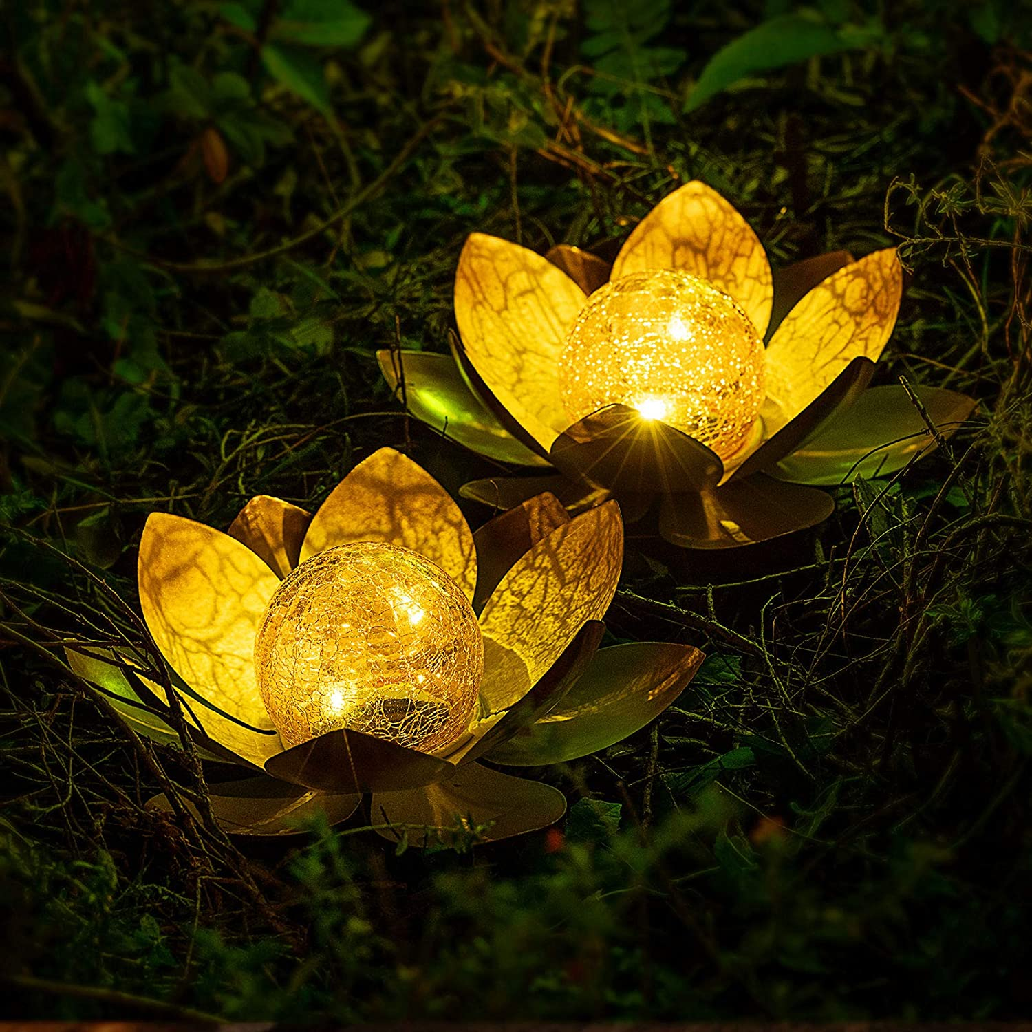 AIINY Garden Solar Light Outdoor(2Pack) , Amber Crackle Globe Glass Lotus Decoration , Waterproof Orange Metal LED Flower Lights for Patio,Lawn,Walkway,Tabletop,Ground 2Pack