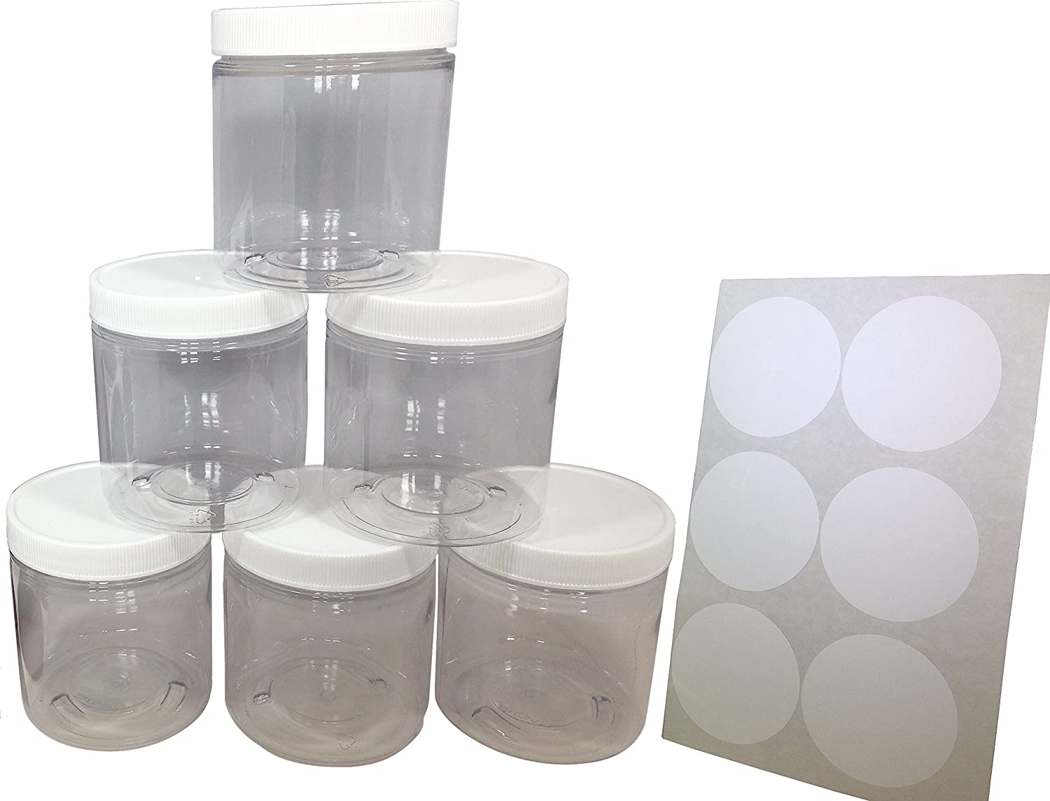 Amazon 8oz Plastic Slime Containers And Lids Storage Jars 6