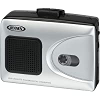 Jensen Portable Cassette Tape Player to Captures MP3 Audio Music via USB Convert PC/MAC + Built in Speaker