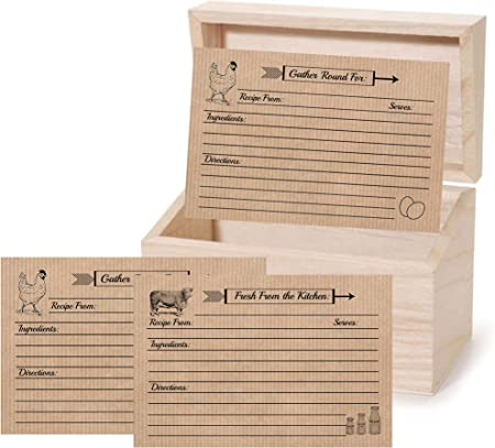 Tarjetas de recetas Farmhouse caja de recetas con 4 x 6 doble cara 30 unidades de pollo vaca rústico diseño vintage: Amazon.es: Hogar
