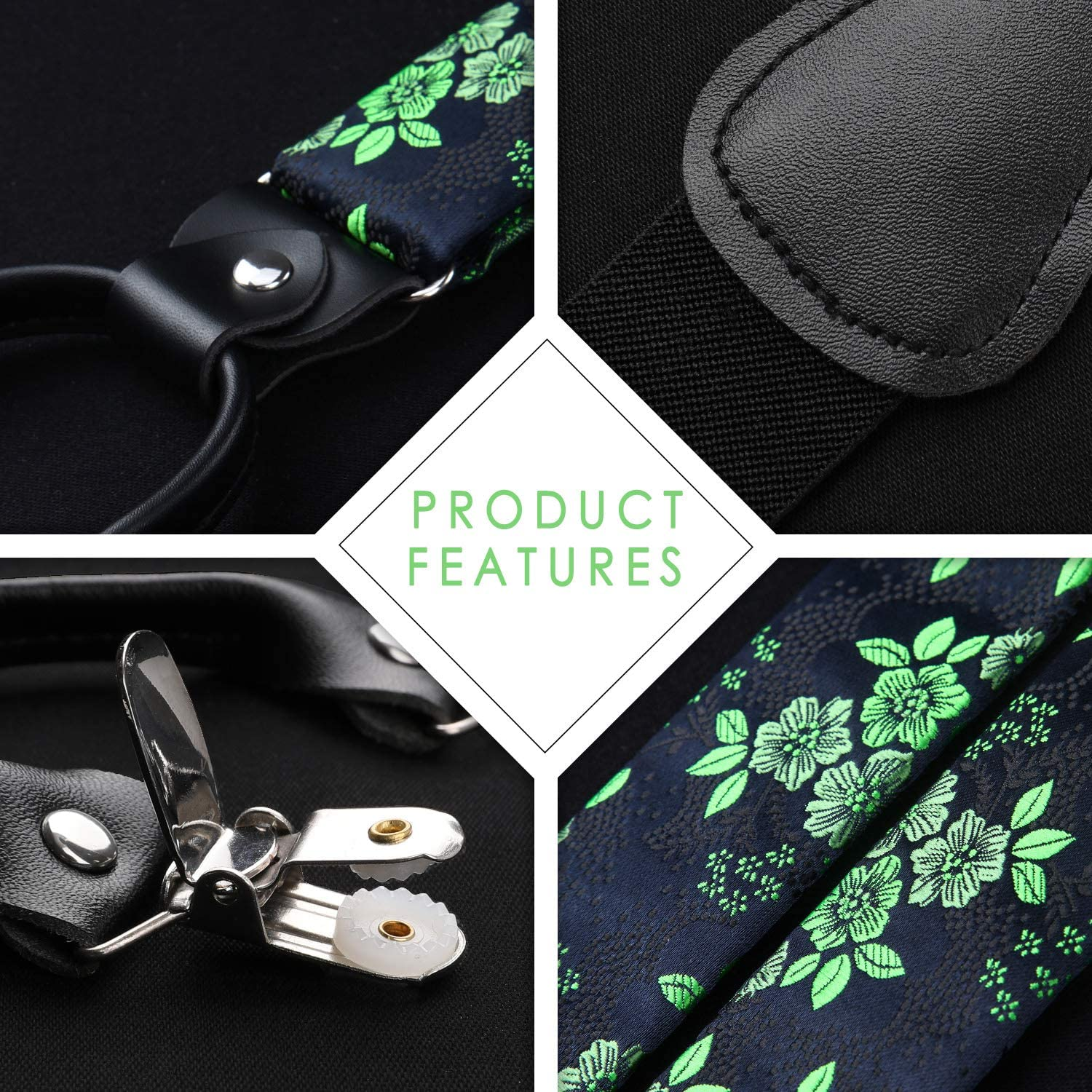 HISDERN Floral Paisley 6 Clips Suspenders /& Bow Tie and Pocket Square Set Y Shape Adjustable Red /& Black