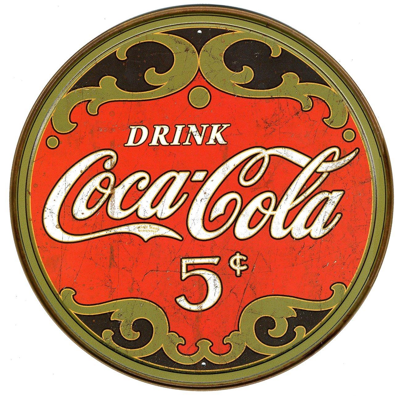 Coca-Cola Cartel Metálico Anuncio 5 cents 28x28cm Producto ...