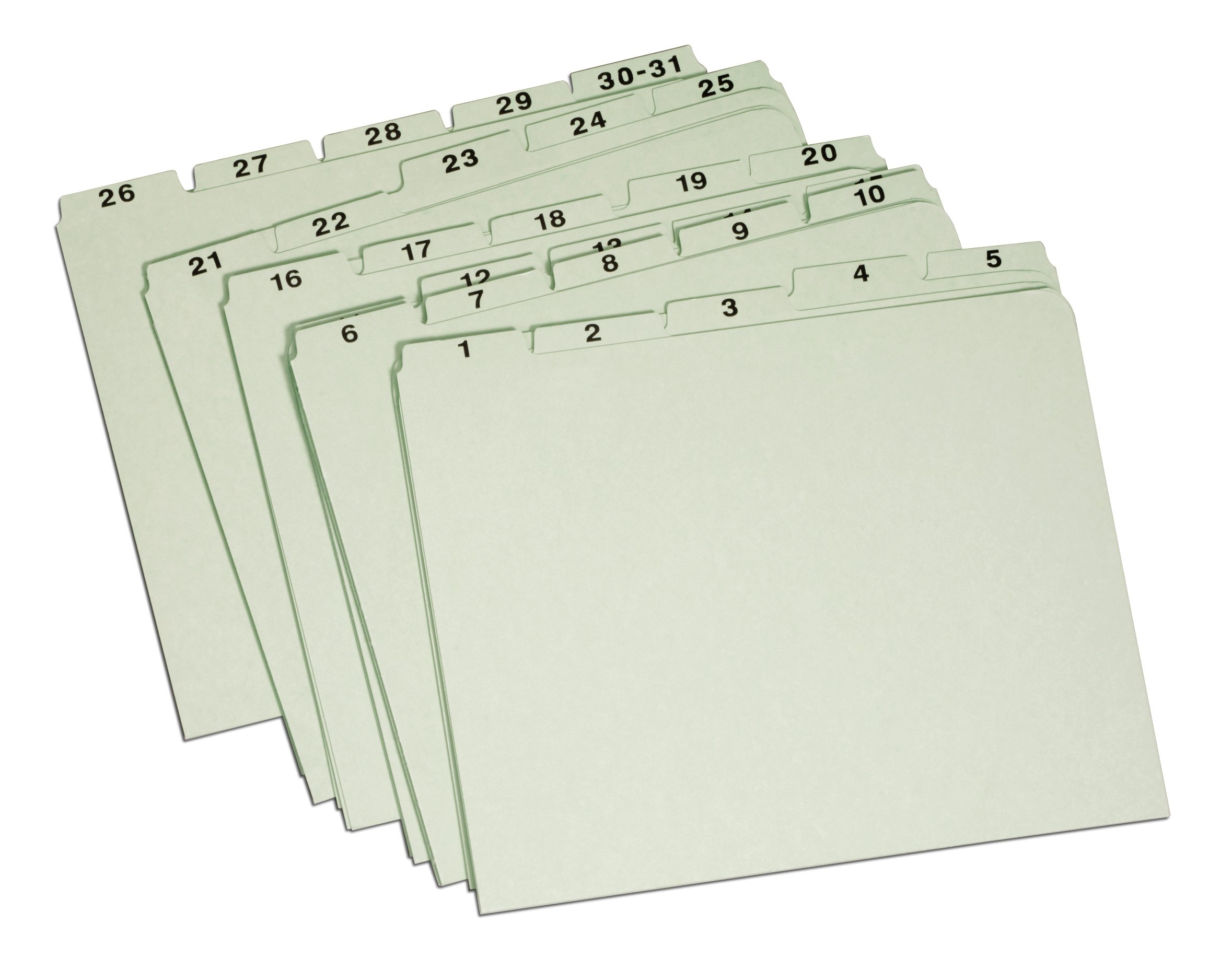 Globe-Weis/Pendaflex Pressboard File Guides, Vertical, Letter Size, 1-31 Index, Light Green, (31PX91)