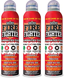 Mini Firefighter MFF03 Multi Purpose 4-in-1 Fire Extinguisher Eliminator for Gasoline, Kitchen Grease, Oil, Electric and Wood Fires. Home Safety (3 Pack)