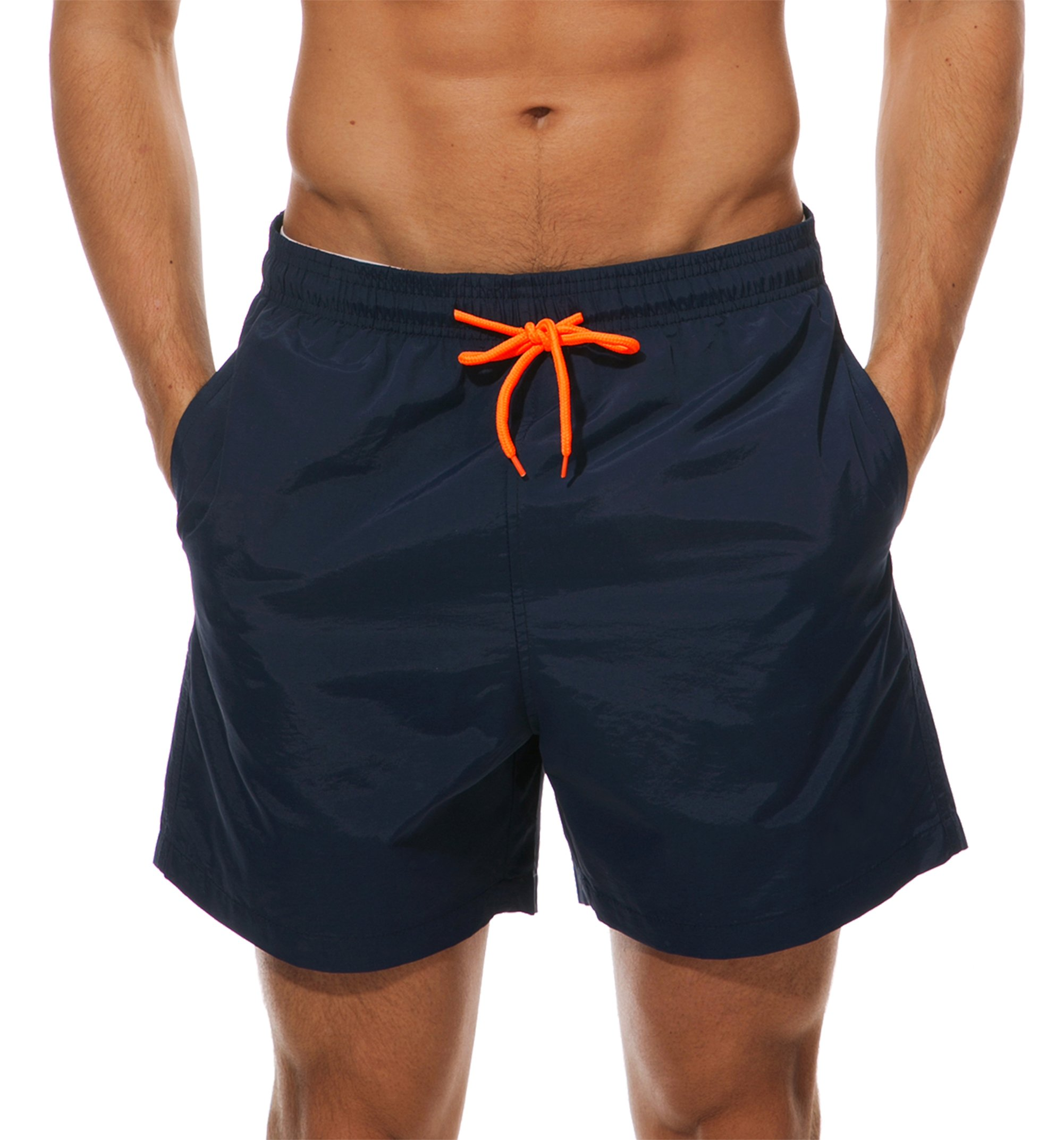 WENER Men's Short Swim Trunks,Best Board Shorts Sports Running Swimming Beach Surfing,Quick Dry Breathable Mesh Lining (Navy Blue, US Size Large (Fits Waist:34.6''-38.5'',Tag XXL))