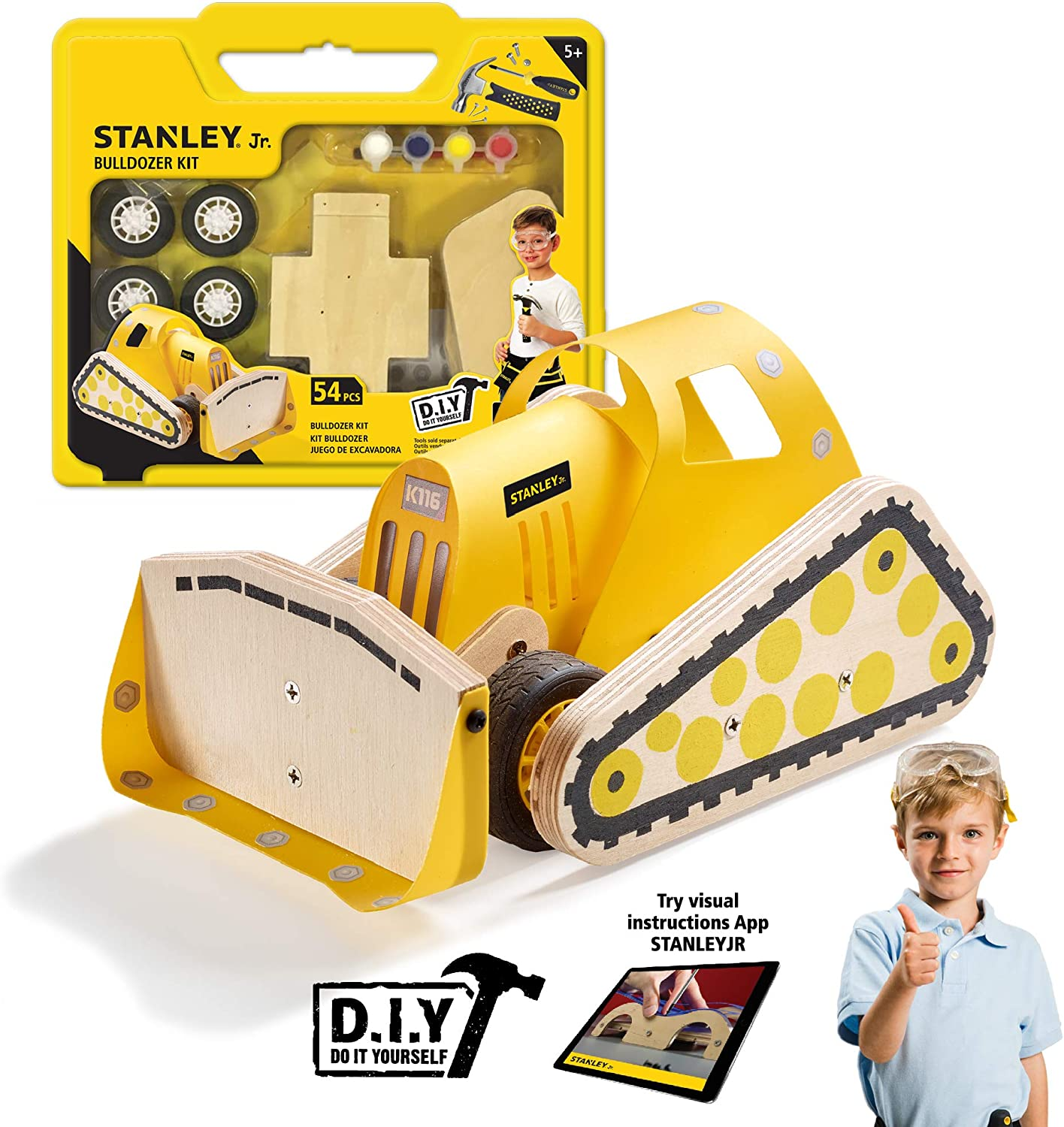 Bulldozer Toy Truck Construction Play Small Wood Craft Kit Stanley Jr DIY Toy Kids Building Kit