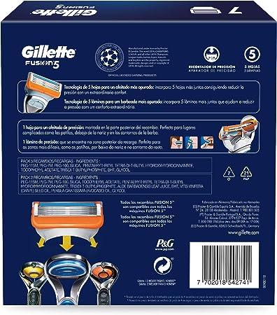 Gillette Fusion5 - Cuchillas de Afeitar, Pack Ahorro Champions League con 7 Recambios
