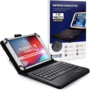 Cooper Infinite Executive Keyboard Case for 7-8 inch Tablets | Universal Fit | 2-in-1 Bluetooth Wireless Keyboard & Leather Folio Cover (Black)