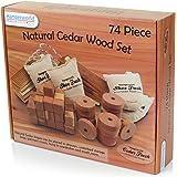 Hangerworld - Set da 74 antitarme in legno di cedro in forme assortite