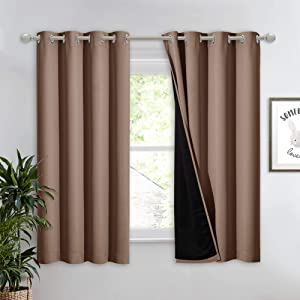 NICETOWN Total Blackout Panel for Nursery, Super Soft, Heavy Duty and Thick Window Treatment Curtain 63 inches Long with Black Lined for Basement, (1 PC, Cappuccino, 52 inches Wide Each Panel)