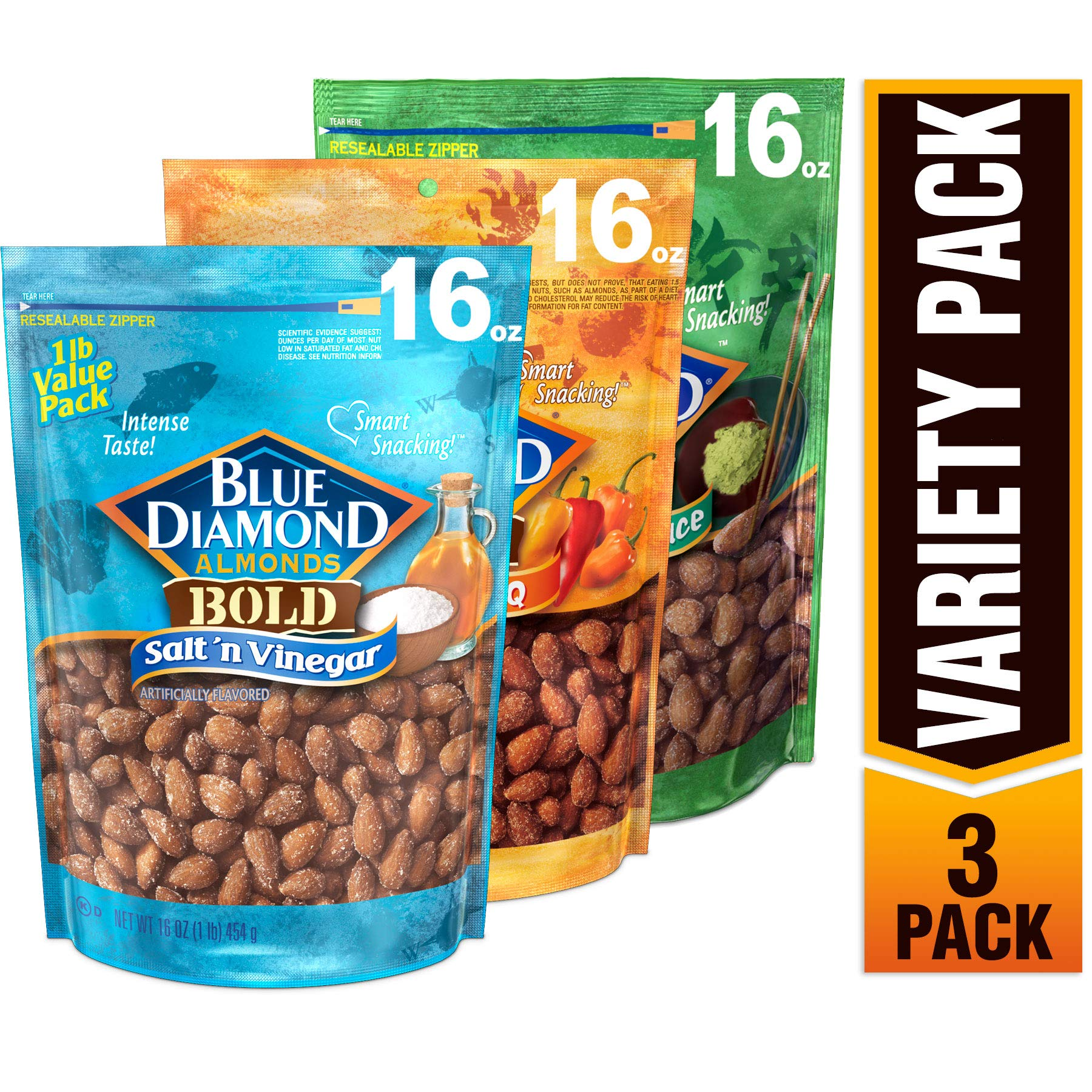 Blue Diamond Almonds Bold Variety Pack - Salt N' Vinegar, Habanero BBQ, and Wasabi & Soy Sauce Flavored Snack Nuts, 16 Oz Resealable Bags (Pack of 3)