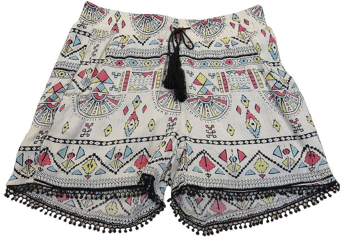 7-16 Printed Crinkle Tassel Shorts 10 Imperial Star Big Girls