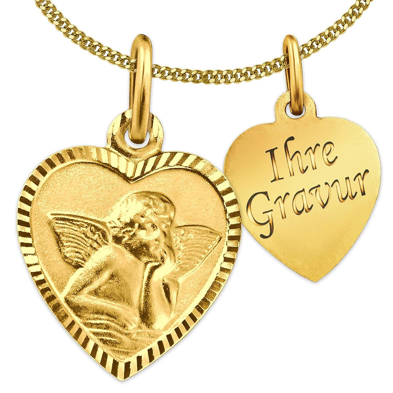 CLEVER SCHMUCK GRAVUR-SET Goldener Anhänger Herz 11 x 10 mm schmal mit Engel klassisch seidenmatt Rand glänzend diamantiert mit Ihrer Gravur 333 GOLD 8 KARAT und wählbarer vergoldeter Kette ahg426(d)_gravur_p40verg