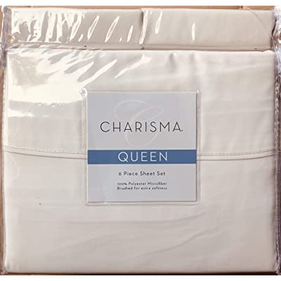CMA Charisma Microfiber 6-Piece Sheet Set (Ivory, Queen): Home & Kitchen