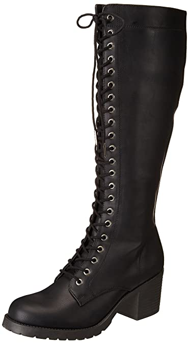 951faf67001b Madden Girl Womens Kase Lace Up Tall Knee-High Boots Black 5 Medium (B