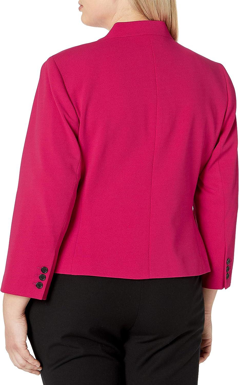 Nine West Womens Plus Size Solid Crepe Kiss Front Jacket