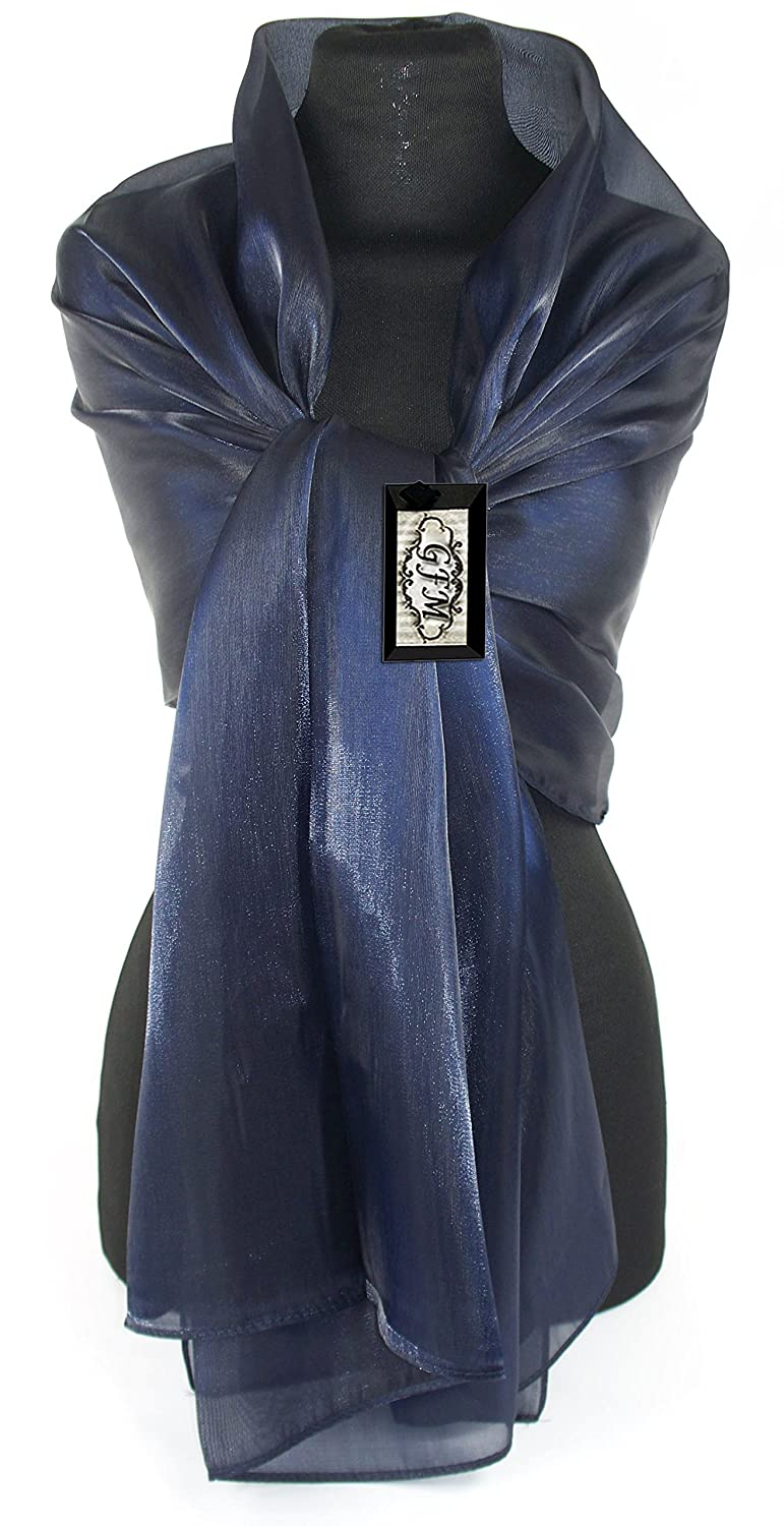GFM Sheer Shimmer Iridescent Long Size Scarf (SA)(SHIM-MP-GHNL-0) - Evening Wear,Bridesmaids,Bridal Wear - Avail in Silver Gold Navy Blue Pink Grey etc ...