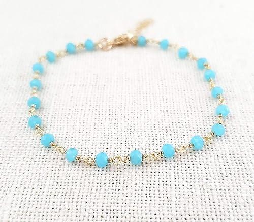 Cascading Wire Wrapped Blue Chalcedony Bracelet