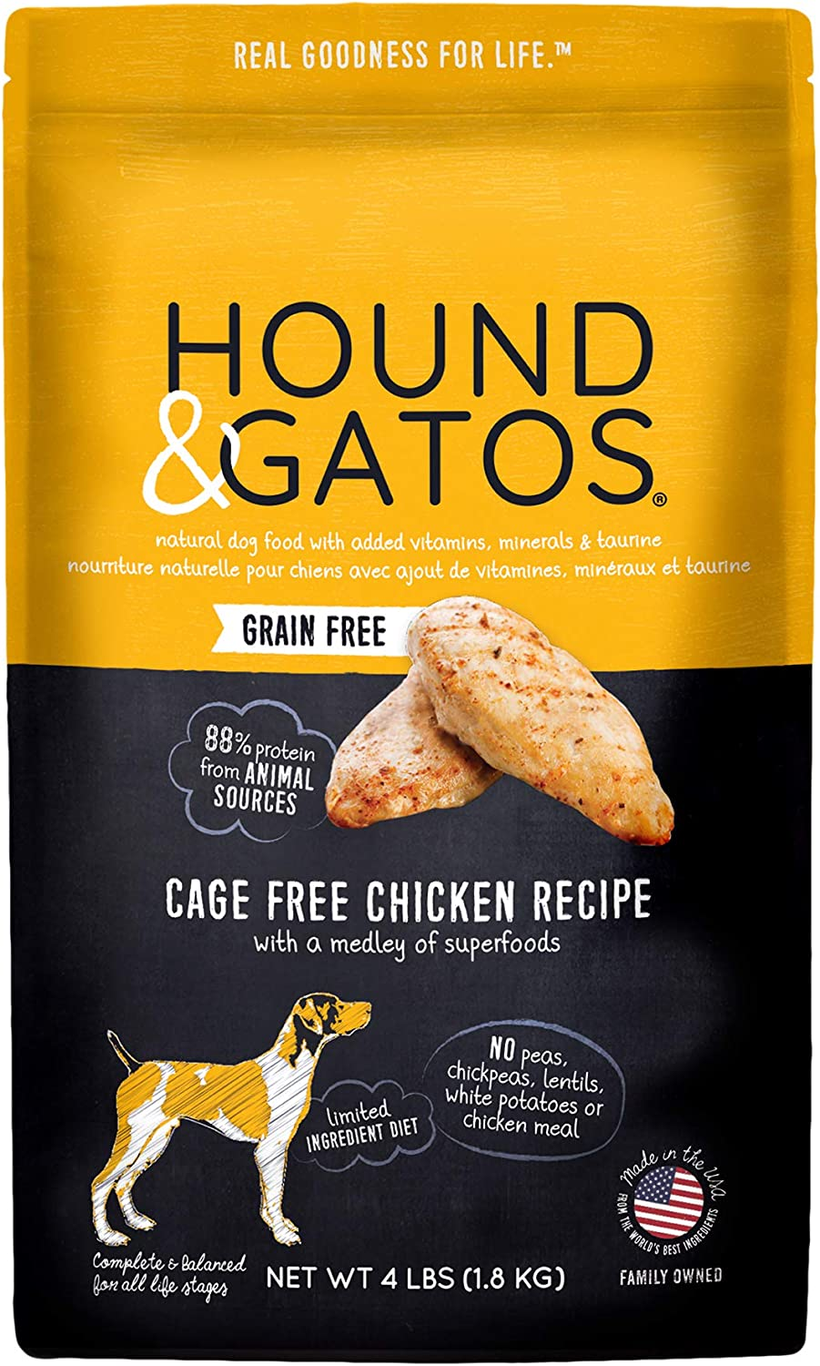 Hound & Gatos Natural Grain-Free Dry Dog Food, Grain-Free Cage Free Chicken Recipe, Made in the USA