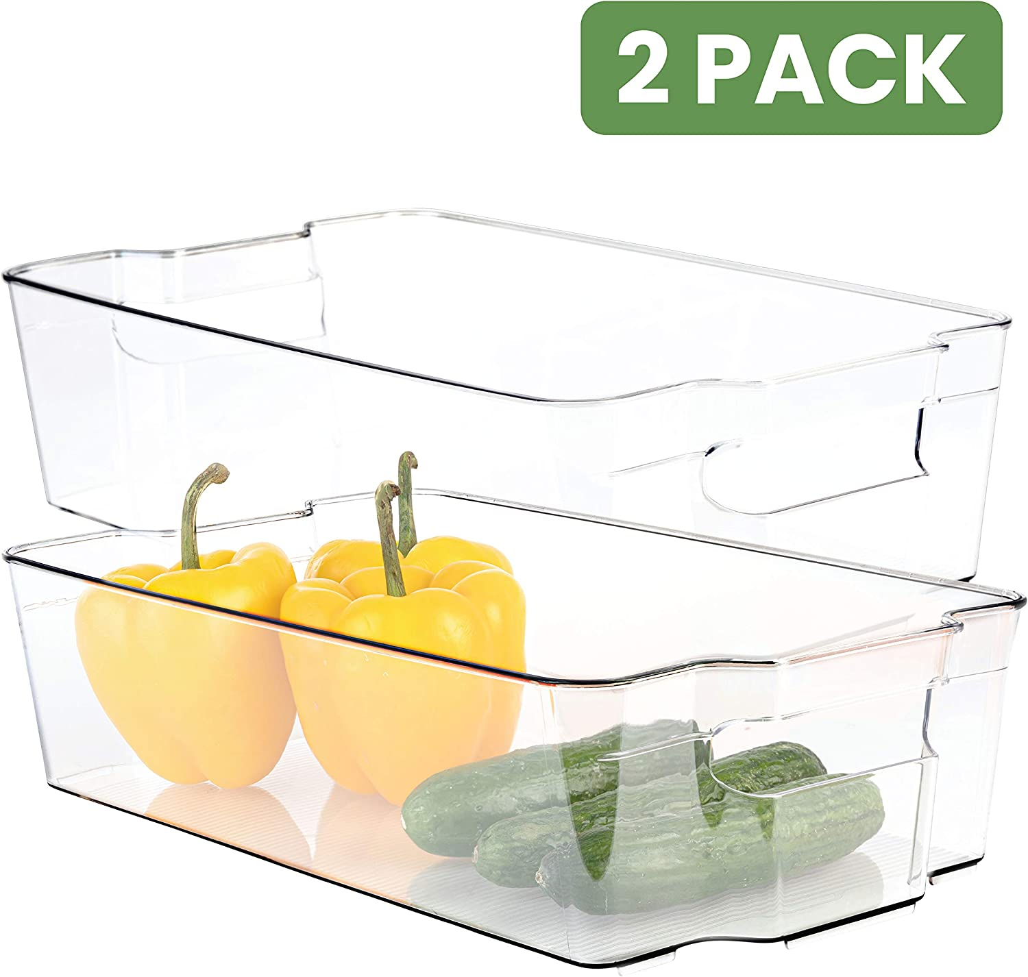 Homeries Fridge Organizer Storage Bins (Pack of 2) – Stackable Freezer & Refrigerator Organizer Container for Kitchen, Pantry, Drawer, Cabinets, Countertops – BPA Free – Multipurpose & Space Saving