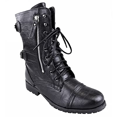 Fashion Thirsty Womens Army Combat Lace Up Zip Grunge Military Biker Punk Goth Ankle Boots Shoes Size
