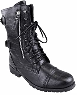 Women Lace up Military Combat Ankle Boots: Amazon.co.uk: Shoes &amp Bags