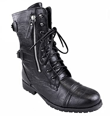 WOMENS LADIES ARMY COMBAT LACE UP GRUNGE MILITARY BIKER PUNK GOTH ANKLE  BOOTS (UK 3 7a9d8ca475