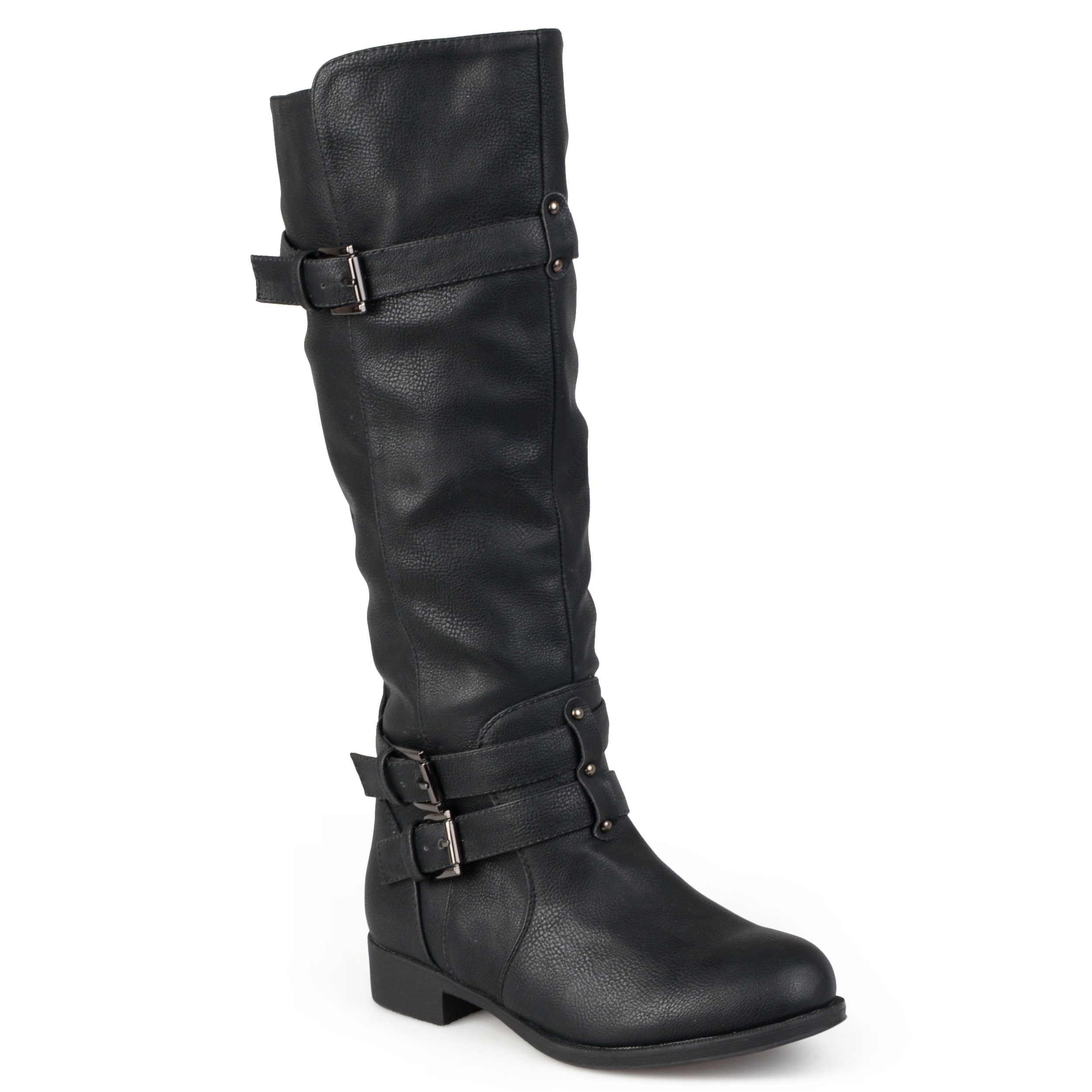 Journee Collection Womens Regular Sized and Wide-Calf Knee-High Buckle Riding Boots Black, 7 Regular US