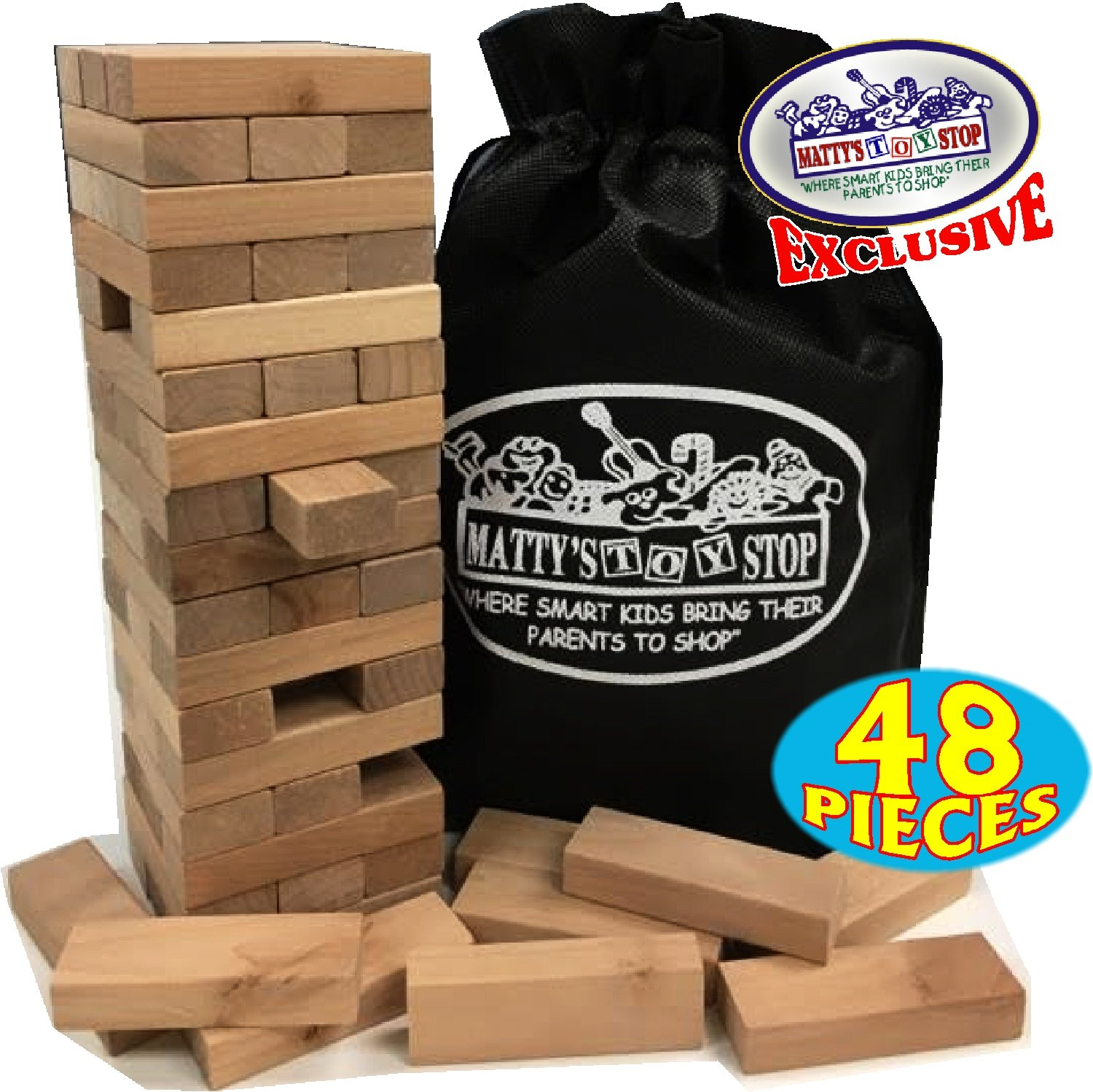 Wooden Tower Deluxe Stacking Game with Exclusive ''Matty's Toy Stop'' Storage Bag