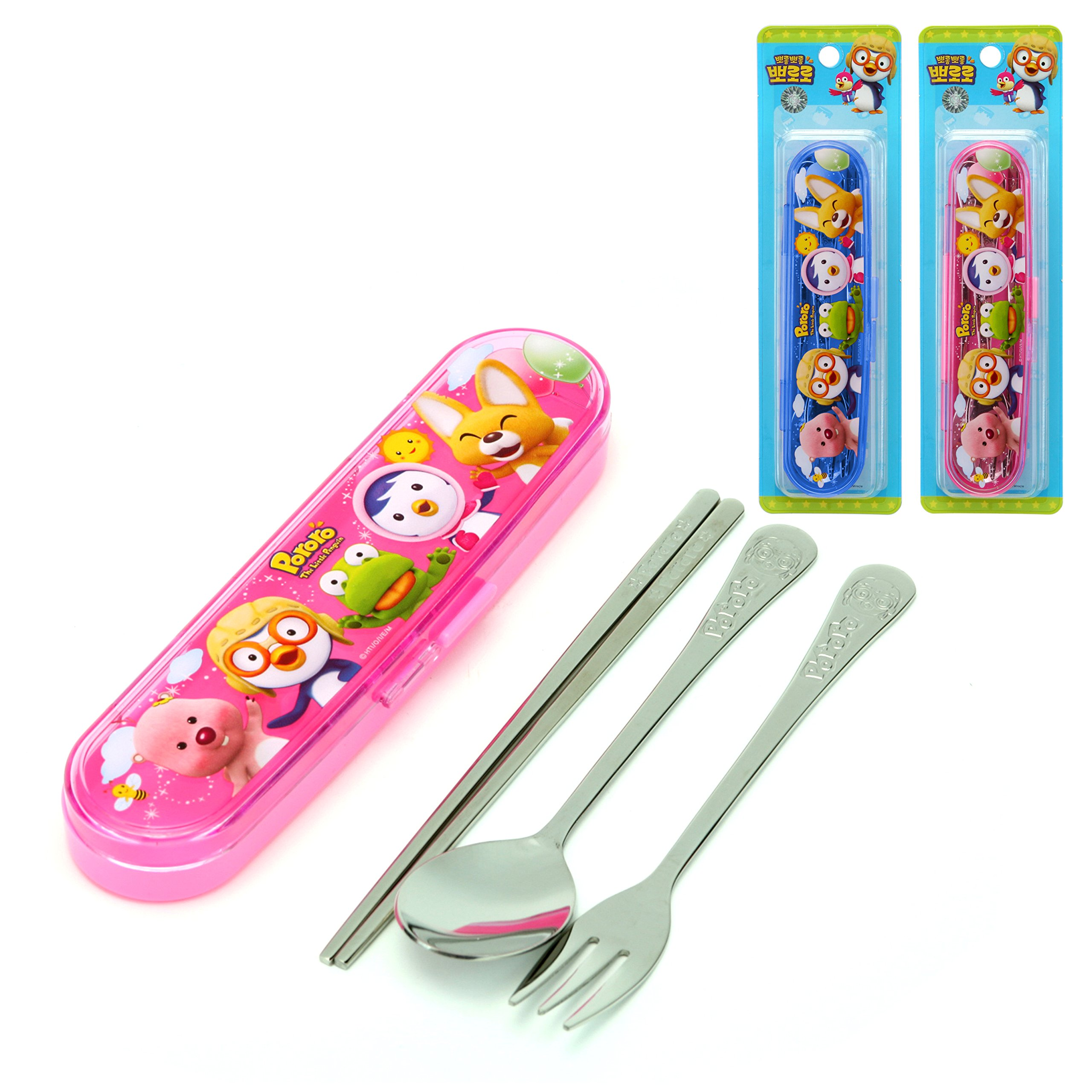 PORORO Stainless Steel Spoon, Fork, Chopsticks Hardcase Set- Pink