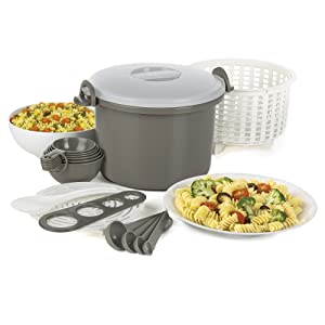 Prep Solutions by Progressive Microwaveable Rice and Pasta Cooker-16 Piece Set Includes Measuring Spoons and Cups, Rice Paddle, Steaming Insert, Pasta Measurer and Locking Lid-12 Cup Capacity BPA FREE