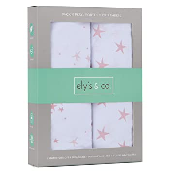 Pin Dots /& Gingko Leaves Pack N Play│Playard│Portable Crib Sheet 2-Pack Combed 100/% Jersey Cotton for Baby Girl /— Rosewater Pink Ely/'s /& Co