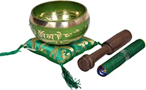Dharma Store - Tibetan Meditation Singing Bowl for Relaxation and Healing - with Traditional Design Tibetan Buddhist Prayer Flags - Handmade in Nepal (Green)