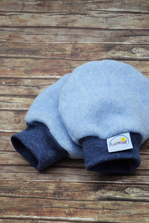 Babys 44 48 50 56 74 80 f/ür Kinder M/ädchen hellblau Fleece dunkelblau meliert B/ündchen Fr/ühchen warm weich F/äustlinge Jungen Handschuhe aus Bio-Baumwolle