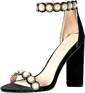 529d6b4017f Amazon.com   Qupid Women's Low Chunky Heel Heeled Sandal   Heeled ...