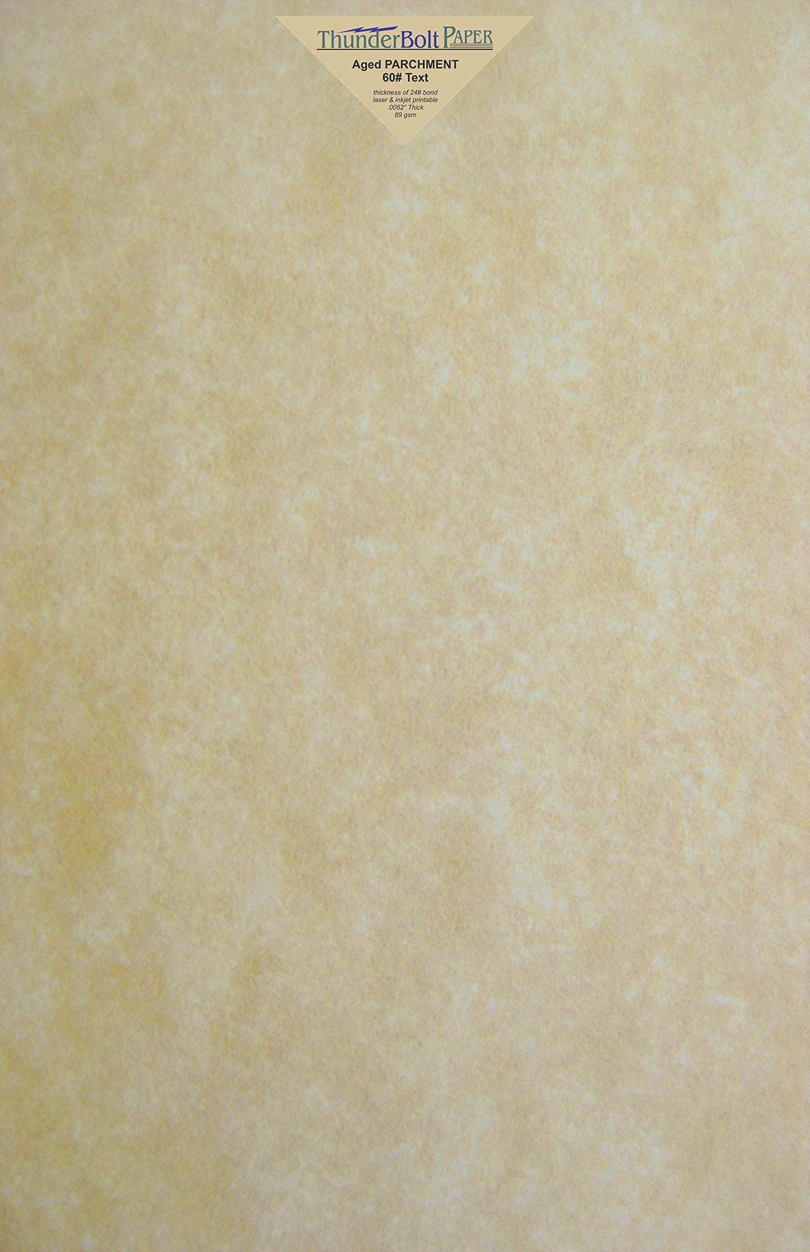 700 Old Age Parchment 60# Text (=24# Bond) Paper Sheets - 11'' X 17'' (11X17 Inches) Tabloid|Ledger|Booklet Size - 60 Pound is Not Card Weight - Vintage Colored Old Parchment Semblance by ThunderBolt Paper