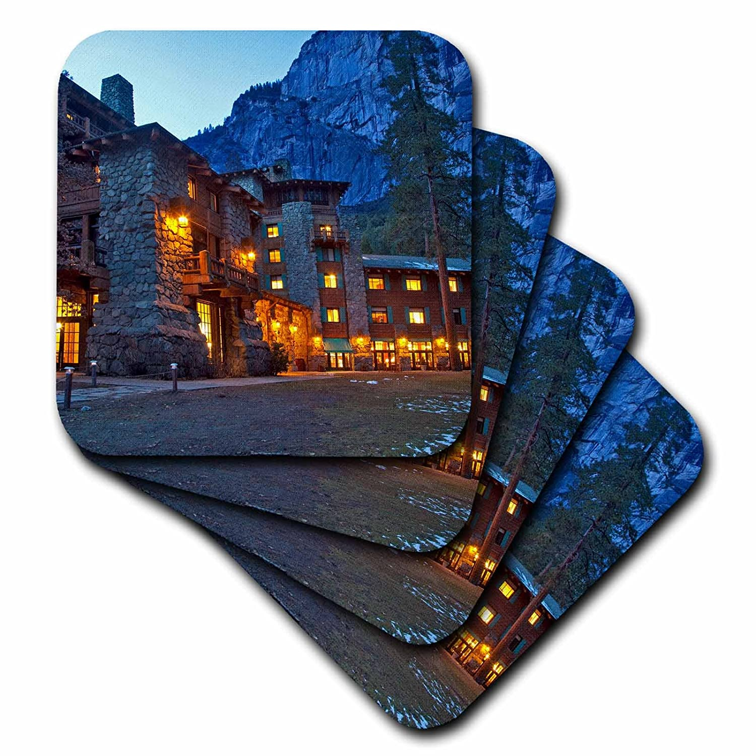 US05 CHA0115 Yosemite NP Ceramic Tile Coasters 3dRose cst/_88309/_3 Ahwahnee Lodge Chuck Haney Set of 4 California USA