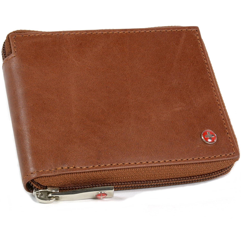 Alpine Swiss Men's Leather Zip Around Wallet ID Card Window Secure Zipper Bifold Black One Size SW-5007-Black