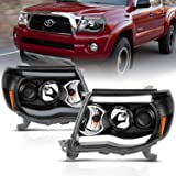AmeriLite 2005-2011 for Toyota Tacoma Dual LED Tube Black Projector Headlights Assembly Replacement Pair - Driver and…